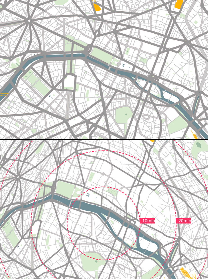 Standard Map vs Isochronic Map For Drivers Of Paris
