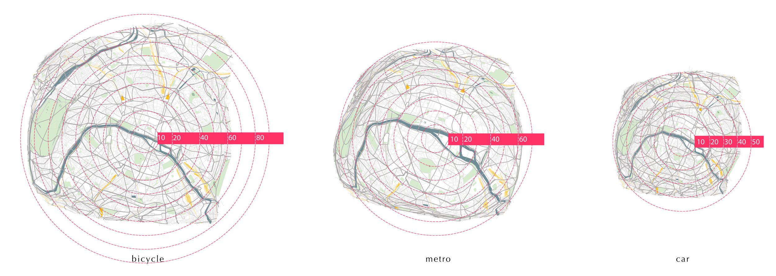 Isochronic Map Of Paris, 3 Transportations Comparison